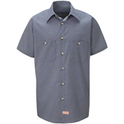 Red Kap® Men's Micro-Check Uniform Shirt Short Sleeve Blue/Charcoal Check 3XL SP20