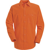 Red Kap® Enhanced Visibility Long Sleeve Work Shirt, Fluorescent Orange, Tall, 2XL