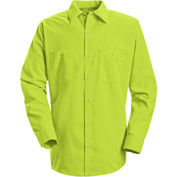 Red Kap® Enhanced Visibility Long Sleeve Work Shirt, Fluorescent Yellow/Green, Regular, 2XL