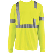 Red Kap® Hi-Vis Long Sleeve Shirt, Class 2, Fluorescent Yellow/Green, Polyester, M