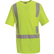 Red Kap® Hi-Vis Short Sleeve T-Shirt, Class 2, Fluorescent Yellow/Green, Polyester, 4XL