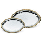 Vollrath® Odyssey™ Serving Tray - Small Oval Tray With Gold Edge - Pkg Qty 12