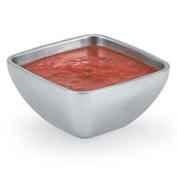 Stainless Steel Square Bowl - Double Wall Plain 0.75 Qt - Pkg Qty 6