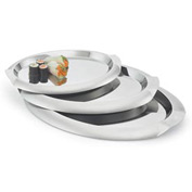 "Vollrath® Oval Stainless Steel Tray - 14-3/4""L X 10-7/8""W - Pkg Qty 3"
