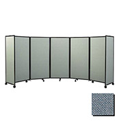 "Portable Mobile Room Divider, 4'x8'6"" Fabric, Powder Blue"
