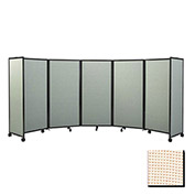 "Portable Mobile Room Divider, 4'x8'6"" Fabric, Sand"