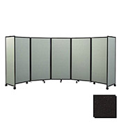 Portable Mobile Room Divider, 4'x14' Fabric, Black