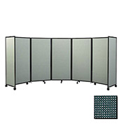 """Portable Mobile Room Divider, 4'x19'6"""" Fabric, Evergreen"""