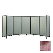 "Portable Mobile Room Divider, 4'x19'6"" Fabric, Wine"