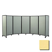"""Portable Mobile Room Divider, 4'x19'6"""" Fabric, Yellow"""