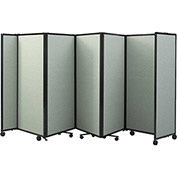 "Portable Mobile Room Divider, 5'x8'6"" Fabric, Pebble"