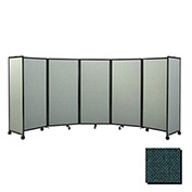 Portable Mobile Room Divider, 5'x14' Fabric, Forest Green