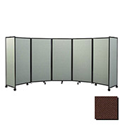 """Portable Mobile Room Divider, 6'x8'6"""" Fabric, Chocolate Brown"""