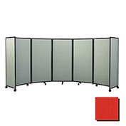 """Portable Mobile Room Divider, 6'x8'6"""" Fabric, Red"""