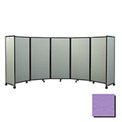 "Portable Mobile Room Divider, 6'x19'6"" Fabric, Purple"