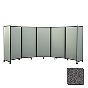 Portable Mobile Room Divider, 6'x25' Fabric, Charcoal Gray