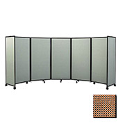 Portable Mobile Room Divider, 6'x25' Fabric, Latte