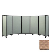 "Portable Mobile Room Divider, 6'10""x25' Fabric, Beige"