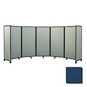 "Portable Mobile Room Divider, 6'10""x25' Fabric, Navy Blue"