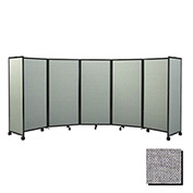 "Portable Mobile Room Divider, 6'10""x25' Fabric, Cloud Gray"