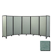 "Portable Mobile Room Divider, 6'10""x25' Fabric, Blush Green"