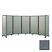 """Portable Mobile Room Divider, 7'6""""x19'6"""" Fabric, Ocean"""