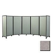 "Portable Mobile Room Divider, 7'6""x19'6"" Fabric, Slate"