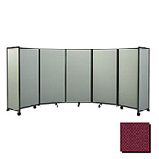 "Portable Mobile Room Divider, 7'6""x25' Fabric, Cranberry"