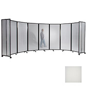 Portable Mobile Room Divider, 6'x25' Polycarbonate, Opal