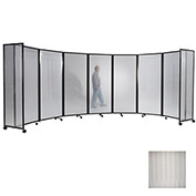 "Portable Mobile Room Divider, 6'10""x14' Polycarbonate, Clear"