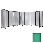 "Portable Mobile Room Divider, 6'10""x19'6"" Polycarbonate, Green"