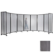"Portable Mobile Room Divider, 6'10""x25' Polycarbonate, Light Gray"
