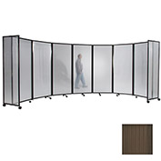 "Portable Mobile Room Divider, 7'6""x19'6"" Polycarbonate, Brown"