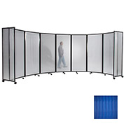 "Portable Mobile Room Divider, 7'6""x25' Polycarbonate, Blue"