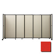 "Portable Sliding Panel Room Divider, 4'x7'2"" Fabric, Red"