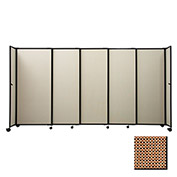 "Portable Sliding Panel Room Divider, 4'x15'6"" Fabric, Latte"