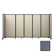 "Portable Sliding Panel Room Divider, 4'x15'6"" Fabric, Ocean"