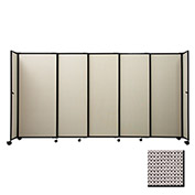 "Portable Sliding Panel Room Divider, 4'x15'6"" Fabric, Slate"