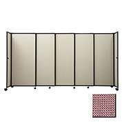 "Portable Sliding Panel Room Divider, 4'x15'6"" Fabric, Wine"