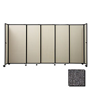 "Portable Sliding Panel Room Divider, 5'x7'2"" Fabric, Charcoal Gray"