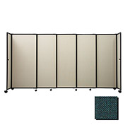 "Portable Sliding Panel Room Divider, 5'x7'2"" Fabric, Forest Green"