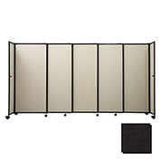 "Portable Sliding Panel Room Divider, 5'x15'6"" Fabric, Black"