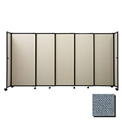"Portable Sliding Panel Room Divider, 5'x15'6"" Fabric, Powder Blue"