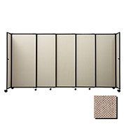 "Portable Sliding Panel Room Divider, 5'x15'6"" Fabric, Rye"