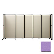 "Portable Sliding Panel Room Divider, 5'x15'6"" Fabric, Purple"