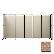 "Portable Sliding Panel Room Divider, 6'x11'3"" Fabric, Beige"