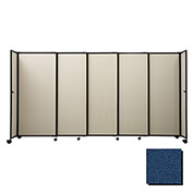 "Portable Sliding Panel Room Divider, 6'x11'3"" Fabric, Navy Blue"
