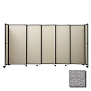 "Portable Sliding Panel Room Divider, 6'x11'3"" Fabric, Cloud Gray"