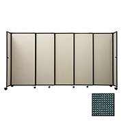 "Portable Sliding Panel Room Divider, 6'x11'3"" Fabric, Evergreen"
