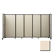 "Portable Sliding Panel Room Divider, 6'x11'3"" Fabric, Sand"